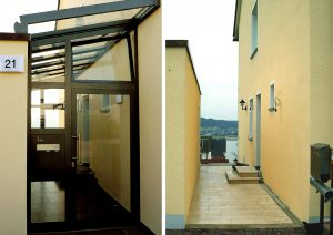 Hauseingang Überdachung / vorher - nachher
