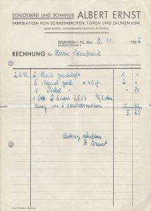 Rechnung aus 1952